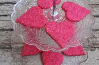 Sablés à la noix de coco en cœurs roses pour la Saint Valentin