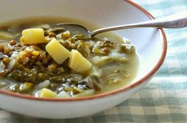 Soupe libanaise aux Lentilles, Pommes de terre et Blettes