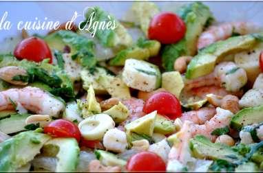 salade de crevettes avocat pomélo