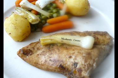 Poulet au vinaigre balsamique et légumes rôtis.