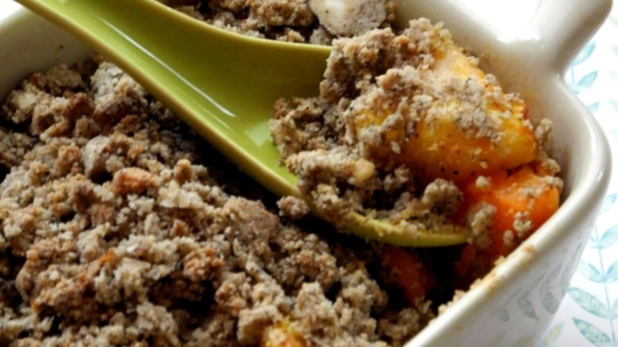 Crumble sucré salé de courge, pomme et sarrasin