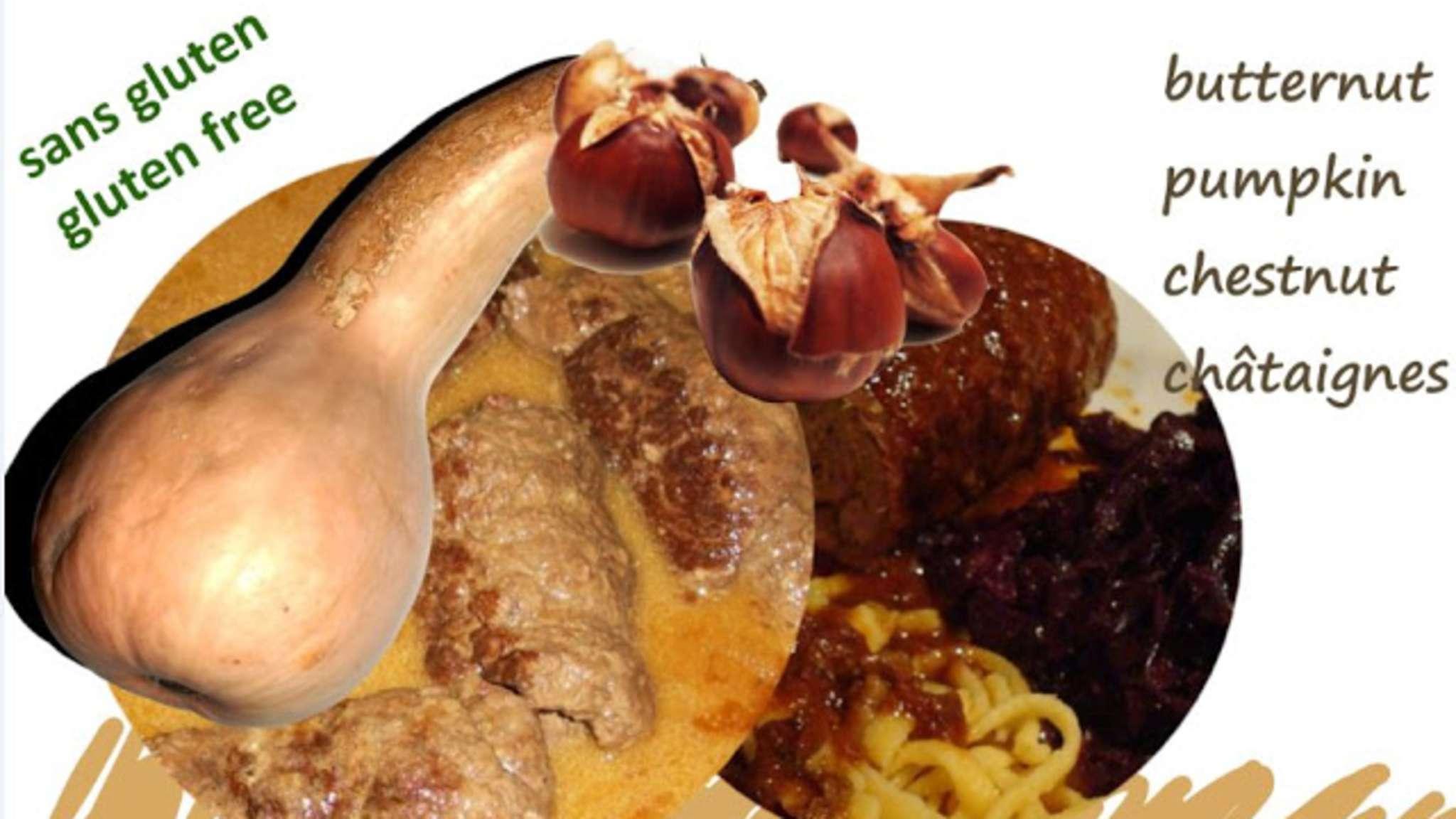 Paupiettes de dinde aux marrons et à la courge butternut
