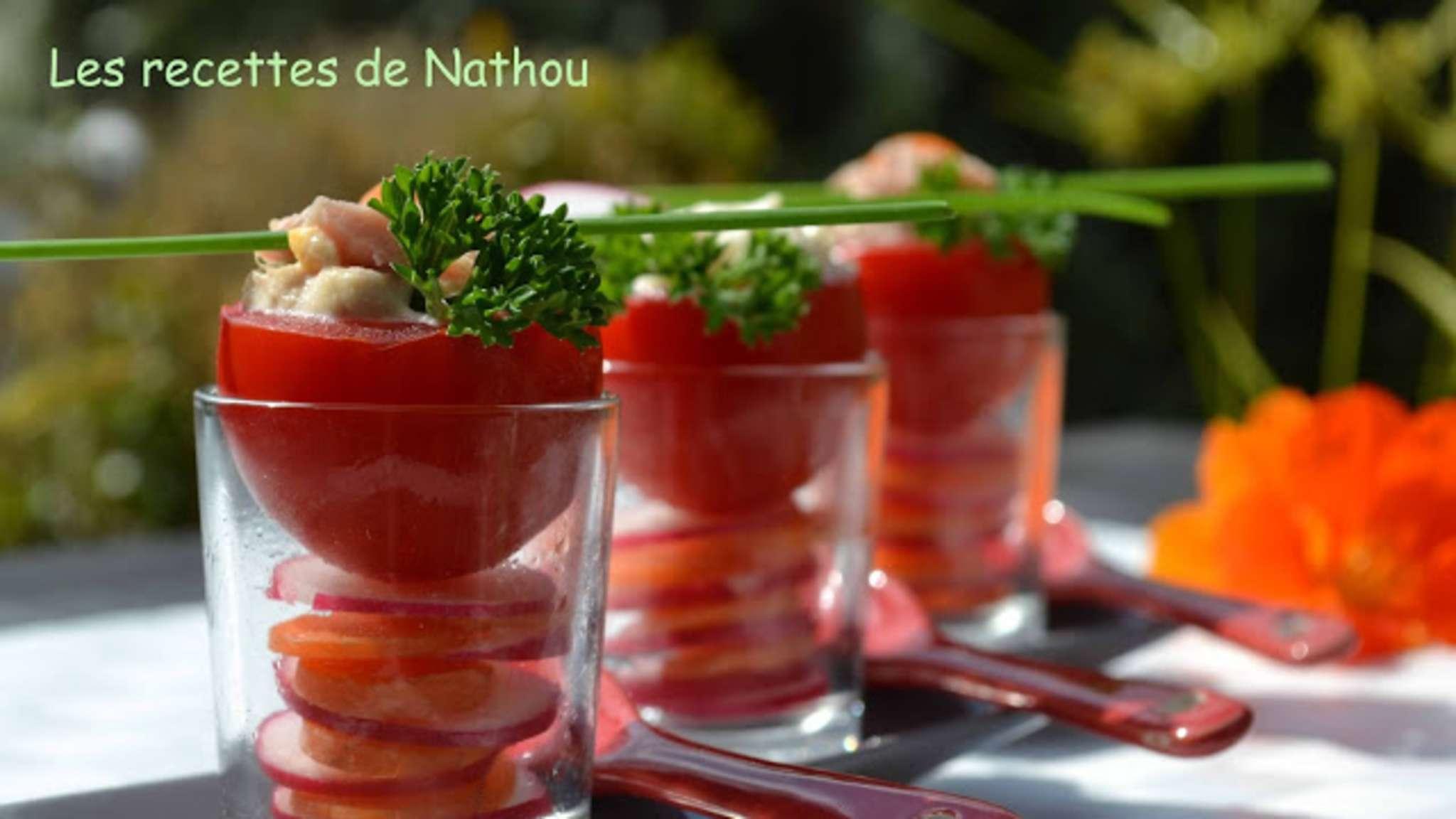Tomates à la coque et carpaccio radis-carottes