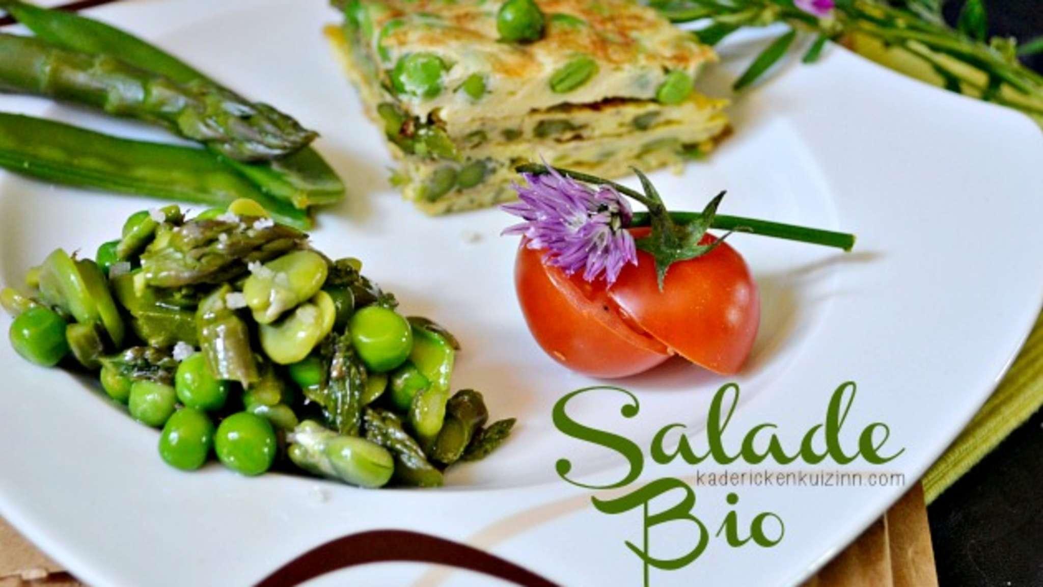 Salade bio en chaud-froid et omelette de légumes