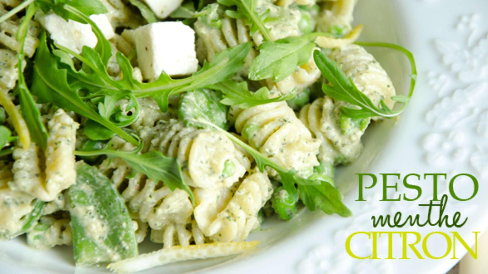 Salade de pâtes pesto menthe citron
