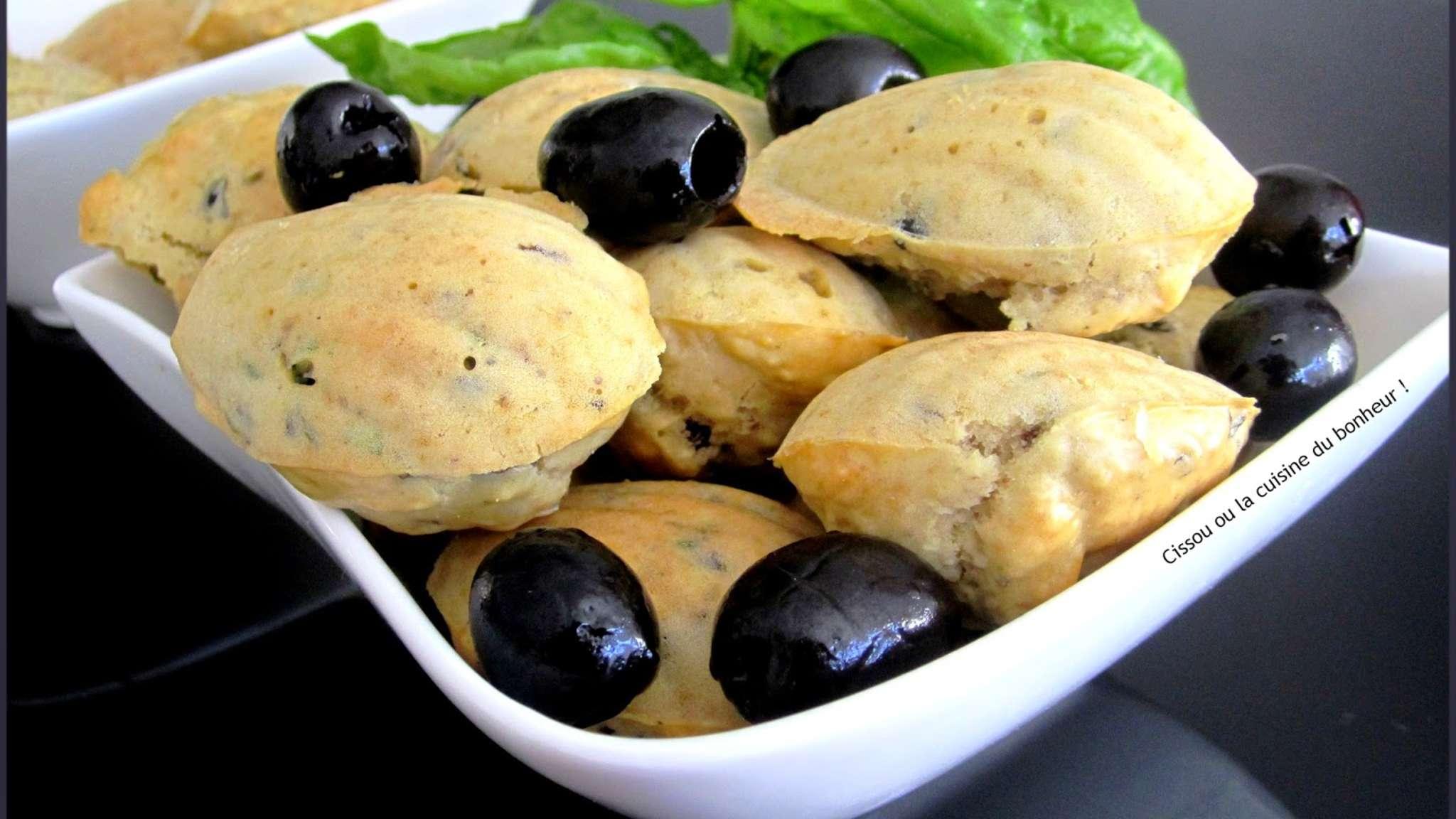 Madeleines olives noires et basilic