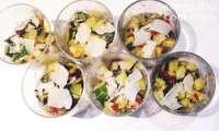 Verrines Courgettes à l'ail - Tomates Confites et Parmesan