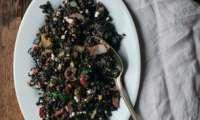 Salade de lentilles Beluga, aubergine et citron confit