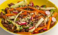 Salade de haricots borlotti au concombre, carottes et radis