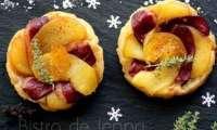 Tatin au magret fumé, pommes et clémentine confite