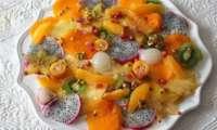 Salade de fruits exotiques au sucre pétillant et au Cointreau