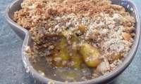 Mirabelles au crumble de noisettes torréfiées (végane et sans gluten)