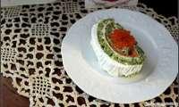 Bûche trompe l'oeil au fromage frais et au saumon