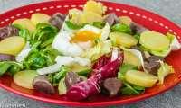 Salade de gésiers aux oeufs, radis noir et pommes de terre