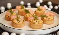 Bouchées aux crevettes et oeufs mimosa