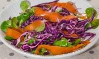 Salade de chou rouge, mâche et carotte