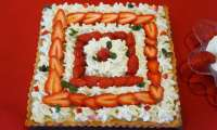 Tarte, fraises Gariguettes et menthe