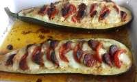 Courgette farcie mozzarella et chorizo
