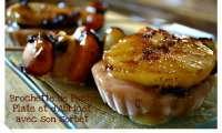 Brochette de Pêche Plate et d'Abricot caramélisés à la Plancha et son sorbet de pêche