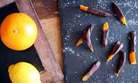 Ecorces d'agrumes confites et orangettes au chocolat