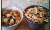 Soupe au Filet mignon au saté et nouilles de riz aux champignons façon ramens