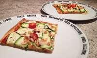 Pizza courgettes, amandes, mozzarella