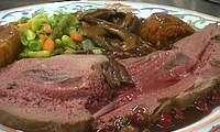 Gigue de chevreuil rôtie
