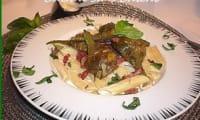 Penne aux artichauts poivrade et crème de parmesan