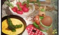Petits flans d'asperges vertes à la mozzarella