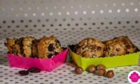 Cookies chocolat blanc/myrtille et chocolat au lait/noisette