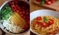 One pot pasta tomate cerise, basilic, ail et oignon