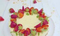 Cheesecake citron, basilic et fraises