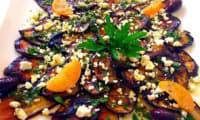 Salade D'Aubergines Grillées à la Feta, Olives, Pignons, Citron Confit Vinaigrette aux Herbes et Cumin