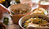 Taboulé à l'aubergine, tomates séchées câpres, gingembre, ricotta, fines herbes