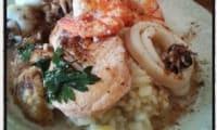 Risotto et nage de saumon , cabillaud et fruits de mer au garam massala et coco