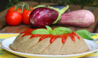 Papeton d'aubergines et son coulis de tomates