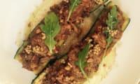 Courgettes, Effiloché de porc, purée d'oignons