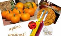 Antipasti à la citrouille, à l'ail, piment et huile d'olive - vegan, sans gluten
