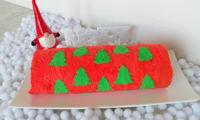 Biscuit roulé imprimé sapins de Noël au Nutella