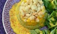 Tartare de gambas sauce mangue crumble de chèvre
