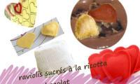 Raviolis à la ricotta, sauce au chocolat