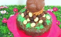 Gravity cake de Pâques au chocolat praliné