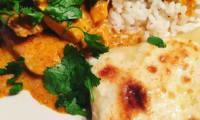 Poulet Tikka Massala et naans au fromage