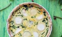 Quiche aux légumes verts et chèvre, pâte sablée à la noisette