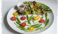 Salade d'aspergettes aux lardons et au vinaigre de framboises