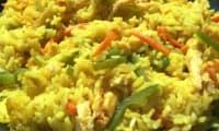 Pilaf au curcuma et légumes croquants