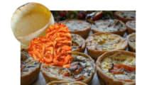 Tartelettes aux crevettes, poireaux, fromage crémeux, curry