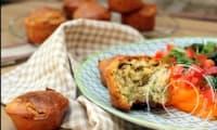 Muffins aux petits pois, chèvre frais, citron et menthe