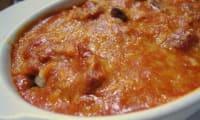 Gratin de carottes aux saucisses,fromage fondu au gruyère