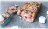 Pain perdu façon pudding aux chamallows accompagné de caramel beurre salé